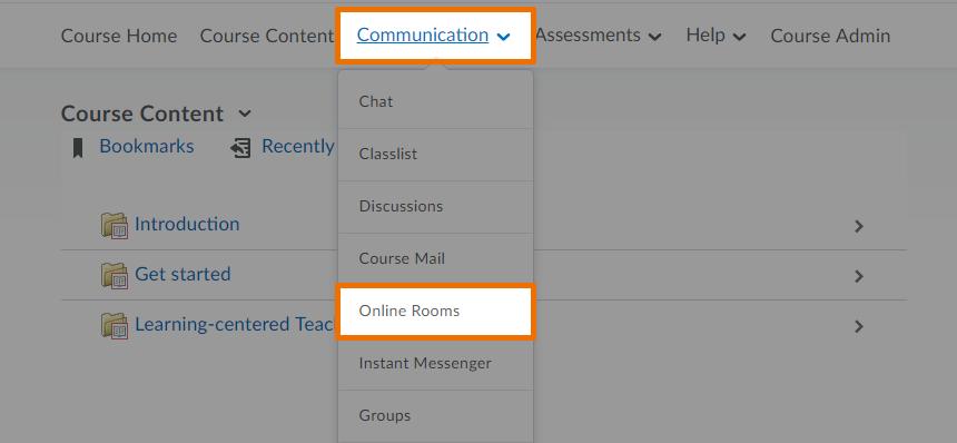 Communications menu