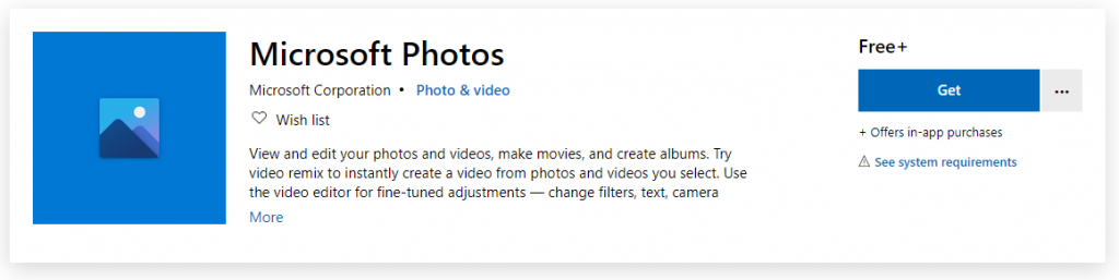 An image showing the Microsoft Photos entry on the Microsoft Store.